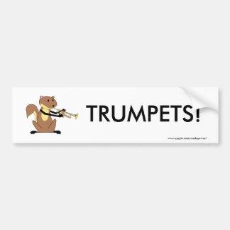 トランペットを演奏しているリス バンパーステッカー
