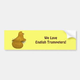 トランペット奏者ハト黄色の自己 バンパーステッカー