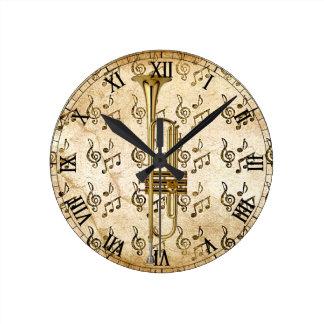トランペットTime_ ラウンド壁時計