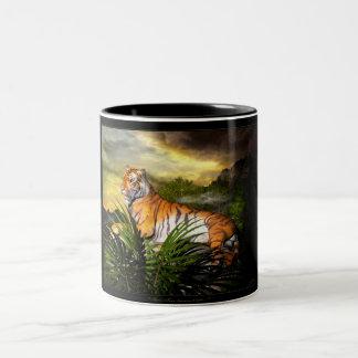 トラ、トラ、燃焼明るいマグ ツートーンマグカップ