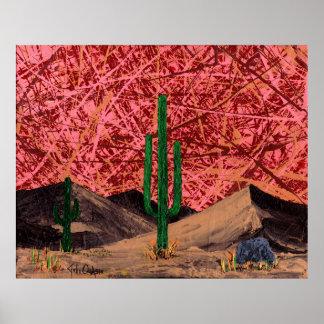 トリオ(砂漠のサボテン-サボテンの景色)の~ ポスター