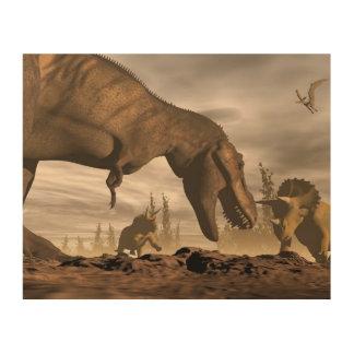 トリケラトプスでとどろいているティラノサウルス・レックス- 3Dは描写します ウッドウォールアート