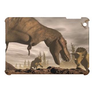 トリケラトプスでとどろいているティラノサウルス・レックス- 3Dは描写します iPad MINI CASE