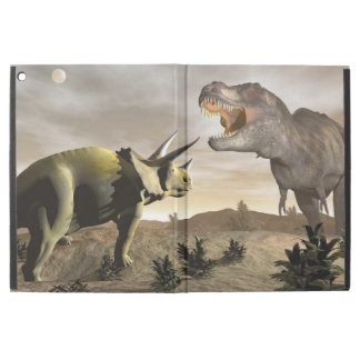 """トリケラトプスでとどろいているティラノサウルス・レックス- 3Dは描写します iPad PRO 12.9"""" ケース"""