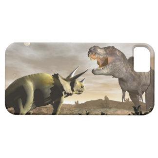 トリケラトプスでとどろいているティラノサウルス・レックス- 3Dは描写します iPhone SE/5/5s ケース