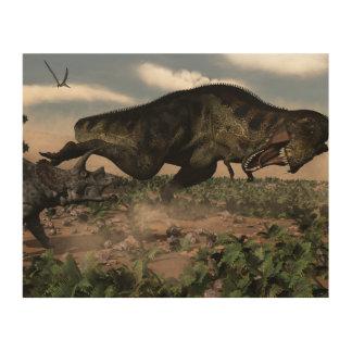 トリケラトプスでとどろくティラノサウルス・レックスのレックス ウッドウォールアート