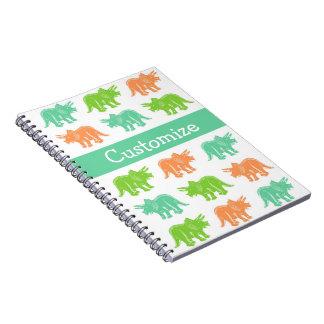 トリケラトプスのカラフルなプリントのカスタマイズ可能なノート ノートブック