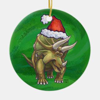 トリケラトプスのクリスマスの緑 セラミックオーナメント