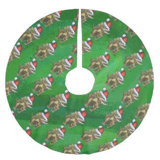 トリケラトプスのクリスマスの緑 ブラッシュドポリエステルツリースカート
