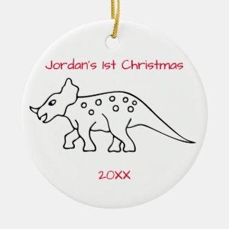 トリケラトプスのクリスマス セラミックオーナメント