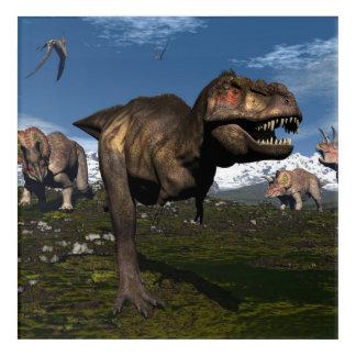 トリケラトプスの恐竜が攻撃するティラノサウルス・レックスのレックス アクリルウォールアート