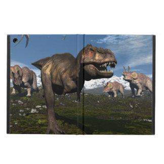 トリケラトプスの恐竜が攻撃するティラノサウルス・レックスのレックス iPad AIRケース
