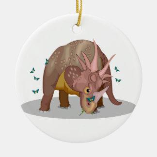 トリケラトプスの恐竜の蝶 セラミックオーナメント