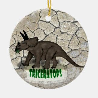 トリケラトプスの恐竜 セラミックオーナメント