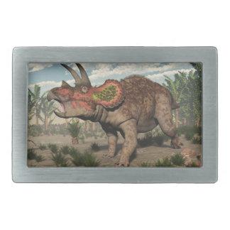 トリケラトプスの恐竜- 3Dは描写します 長方形ベルトバックル