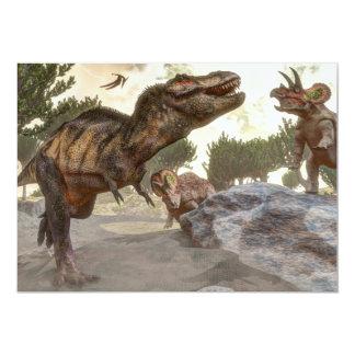 トリケラトプスの攻撃から脱出するティラノサウルス・レックスのレックス カード