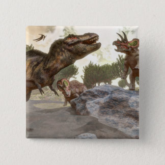 トリケラトプスの攻撃から脱出するティラノサウルス・レックスのレックス 缶バッジ