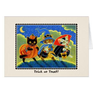 トリック・オア・トリートか。 ハロウィン猫Notecard カード