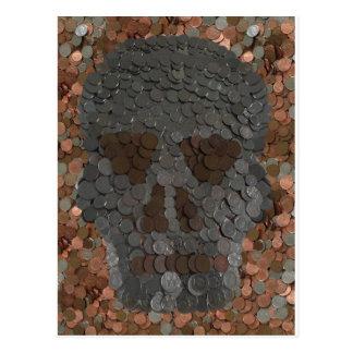 トリック・オア・トリートのハロウィンのスカルのお金の写真 ポストカード