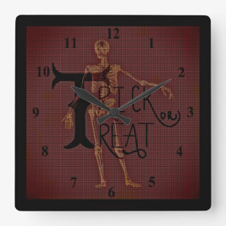 トリック・オア・トリートのハロウィンの骨組厳格なコラージュ スクエア壁時計
