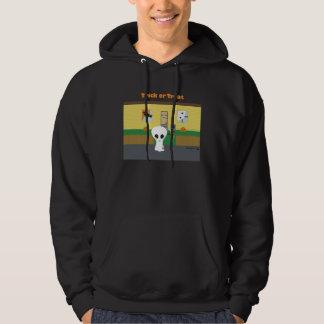 「トリック・オア・トリート」の外国のフード付きスウェットシャツ-黒 パーカ