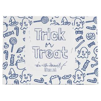 トリック・オア・トリート。 スカルの幽霊魔法使いおよびキャンデー ラージペーパーバッグ