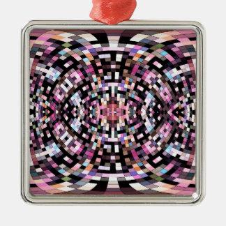 トリップ(幻覚体験)のようななピンクおよび黒い幾何学的 メタルオーナメント