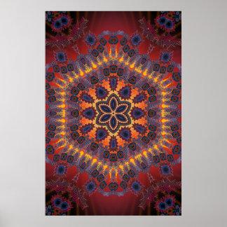 トリップ(幻覚体験)のようななポスター: サイケデリックな放射状のアートワーク ポスター