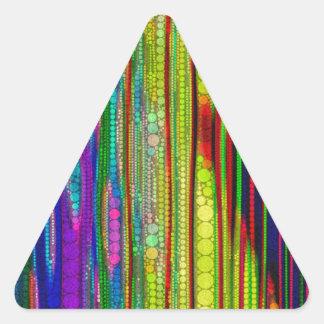 トリップ(幻覚体験)のようなな蛍光ストライプのな抽象芸術 三角形シール