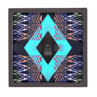 トリップ(幻覚体験)のようなな蛍光ターコイズのシマウマの抽象芸術 ギフトボックス