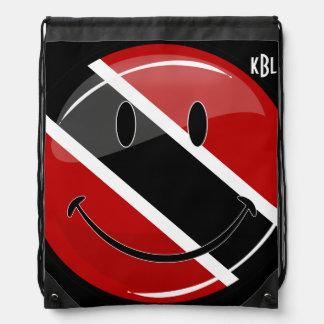 トリニダードトバゴの光沢のある円形の微笑の旗 ナップサック