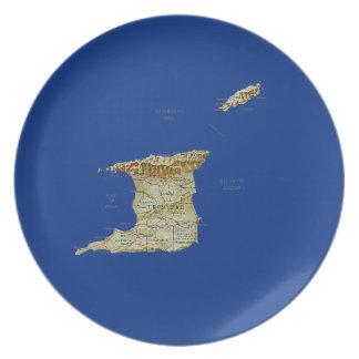 トリニダードトバゴの地図のプレート プレート