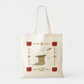 トリニダードトバゴの地図 + 旗のバッグ トートバッグ