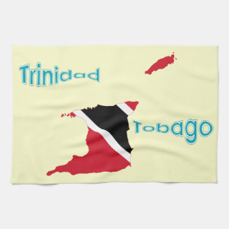 トリニダードトバゴの旗の地図 キッチンタオル