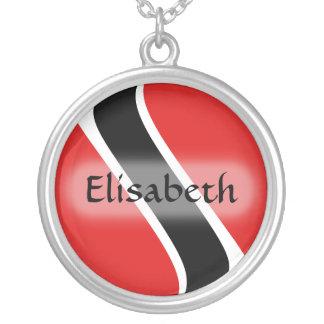トリニダードトバゴの旗 + 一流のネックレス シルバープレートネックレス