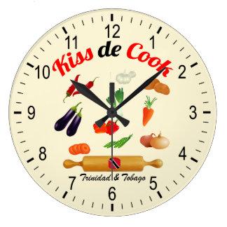 トリニダードトバゴは調理師の食糧に接吻します ラージ壁時計