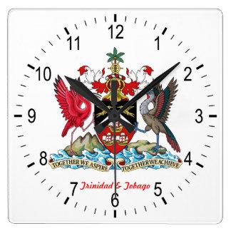 トリニダード及びトバゴの紋章付き外衣 スクエア壁時計
