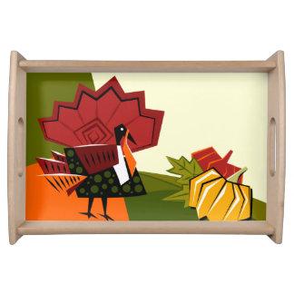 トルコおよびカボチャ感謝祭のトレイ トレー