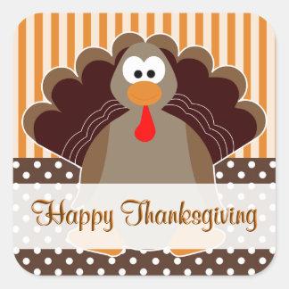 トルコのかわいい幸せな感謝祭平らなカードステッカー スクエアシール
