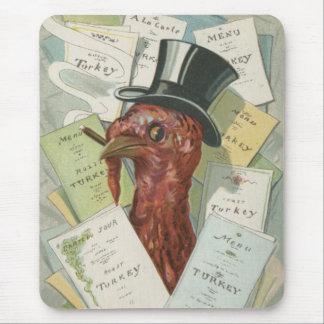 トルコのシガーのシルクハットの感謝祭メニュー マウスパッド