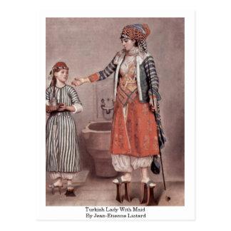 トルコの女性With Maid ByジーンエチエンヌLiotard ポストカード