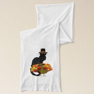 トルコの巡礼者を持つThanksgiving Le Chat Noir スカーフ