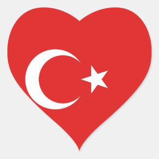 トルコの旗のハートのステッカー ハートシール