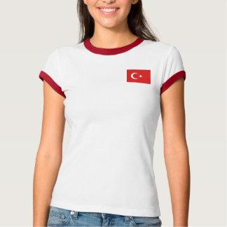 トルコの旗 + 地図のTシャツ Tシャツ
