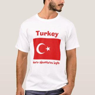 トルコの旗 + 地図 + 文字のTシャツ Tシャツ