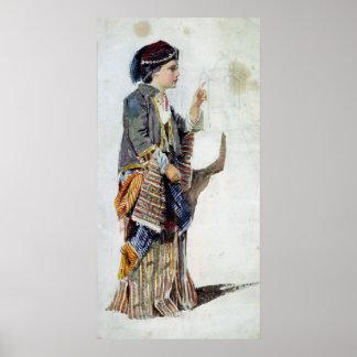 トルコの衣裳の女の子の姿、19世紀 ポスター