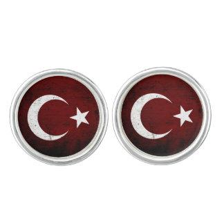 トルコの黒くグランジな旗 カフスリンク