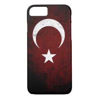 トルコの黒くグランジな旗 iPhone 8/7ケース