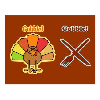 トルコはナイフのフォークの感謝祭のデザインをがつがつむさぼります ポストカード