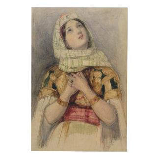 トルコ人の服の若い女性(w/c鉛筆に ウッドウォールアート